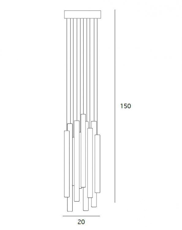 Organic lampa wisząca 10x1W LED 3000K 230V miedź