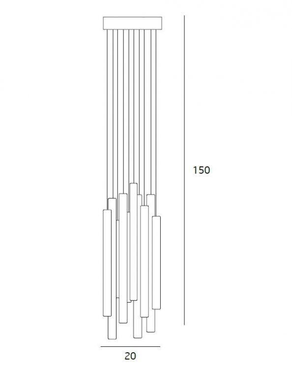 Organic lampa wisząca 10x1W LED 3000K 230V chrom