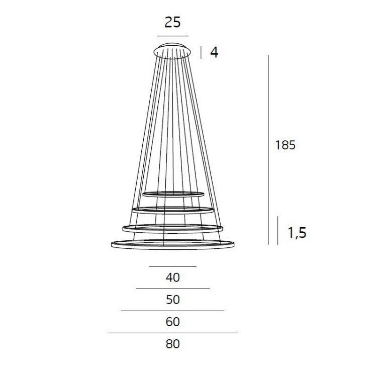 Queen lampa wisząca 1x10W +1x14W + 1x18W 1x25W LED 3000K 230V miedź