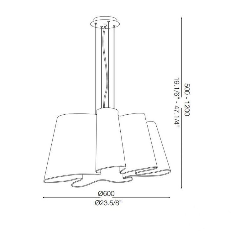 Smug lampa wisząca 60cm 1x60W E27 230V biała