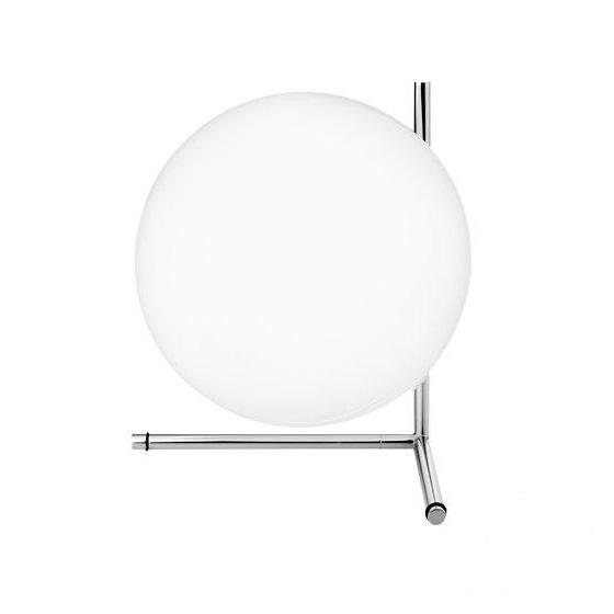 IC T2 lampa stołowa 1x205W E27 230V chrom + białe szkło