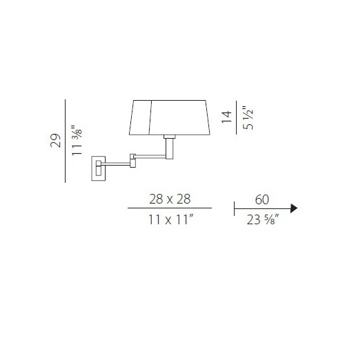 Carre kinkiet 1x53W E27 230V chrom + biały abażur