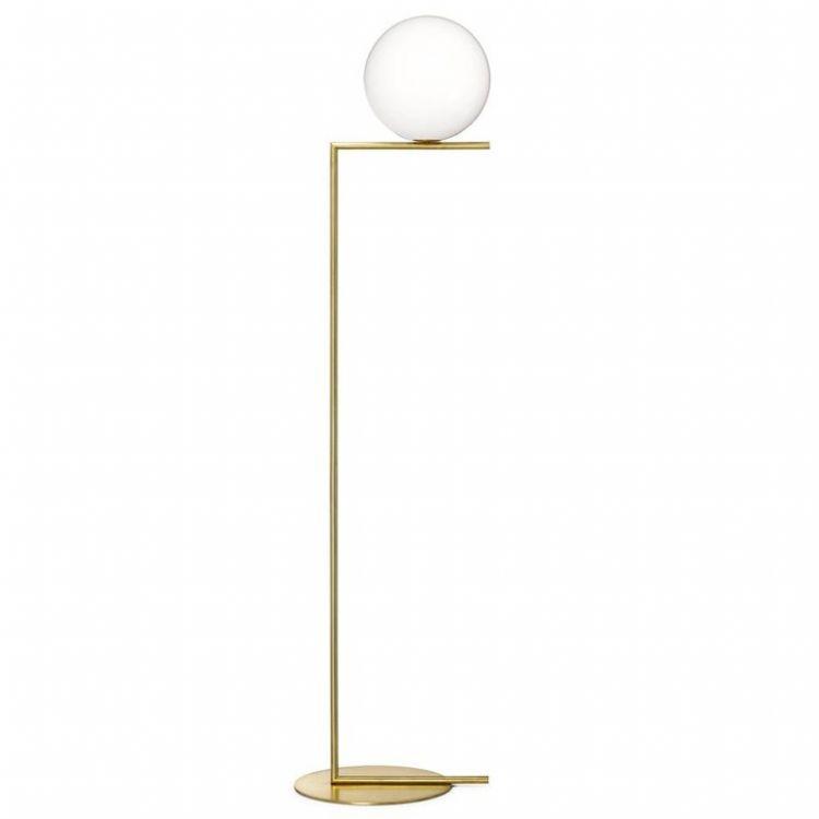 IC F2 lampa podłogowa 1x205W E27 230V szczotkowany mosiądz + białe szkło