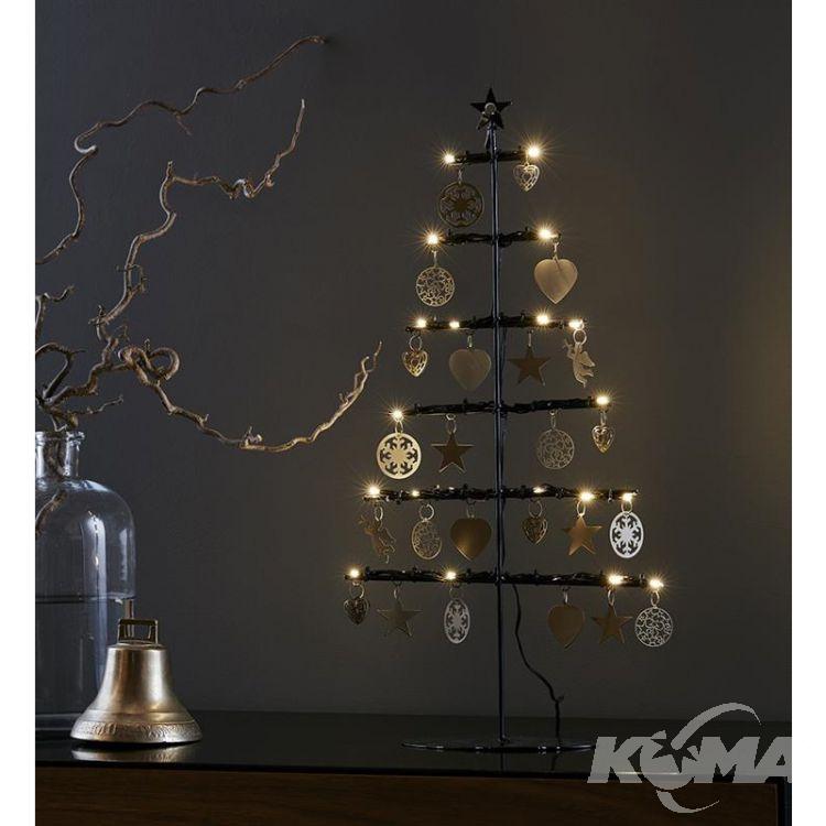 Borken dekoracja stołowa choinka 21x0,06W LED 3xAA czarny/złoty