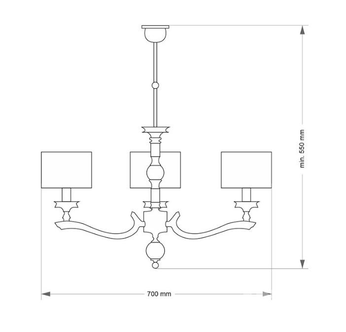 Tivoli oprawa wisząca 3xE14/60W  nikiel/czarny