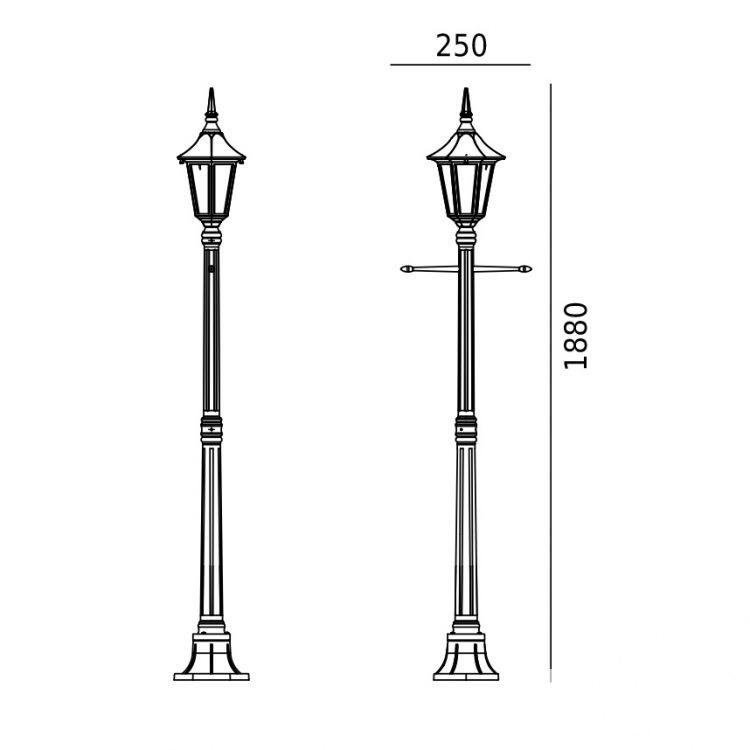 lampa zewnętrzna latarnia biała Milano NORLYS