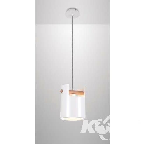 Cube Small lampa wisząca 1x40W E27 230V biała-elementy drewna