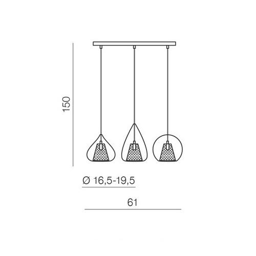Gordon lampa wisząca 3x33W G9 230V czarna + transparentne szkło