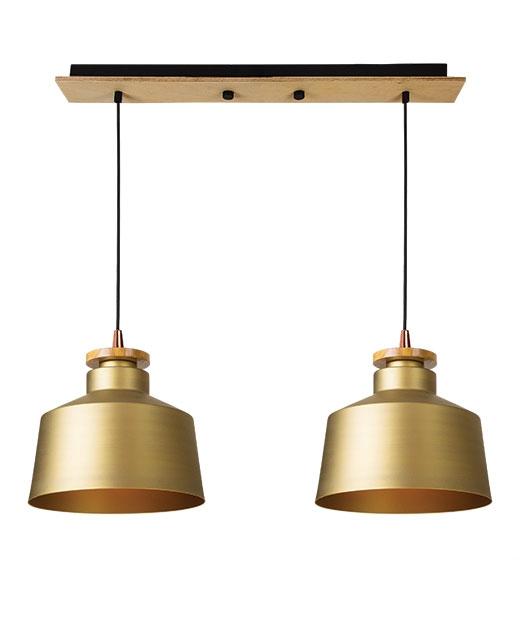 wisząca złota z drewnianym wykończeniem Lampa