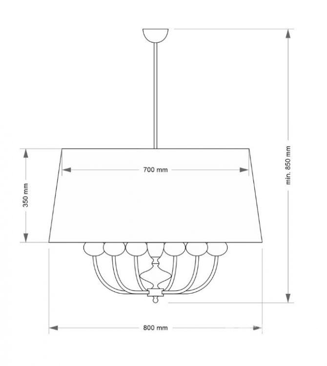 Narni oprawa wisząca 6xe14/60w chrom/biały abażur