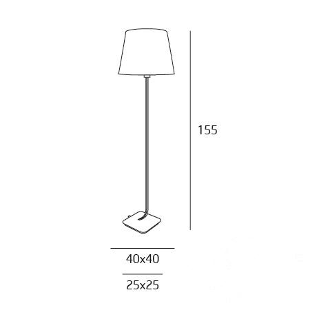 Denver lampa podłogowa 1x60W E27 230V metal szczotkowany + kremowy abażur