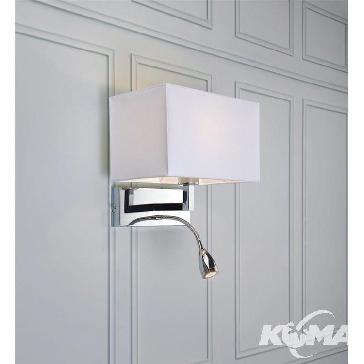 Savoy kinkiet 1x60W E27+ 3W LED 230V chrom + biały abażur