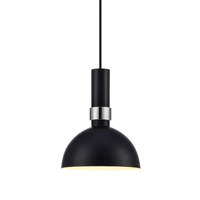 Larry lampa wisząca 1x60W E27 230V czarna + elementy chromu