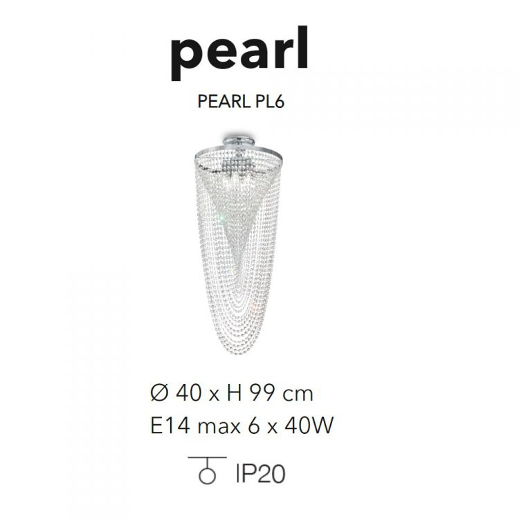 pl6 plafon chrom Pearl IDEAL LUX