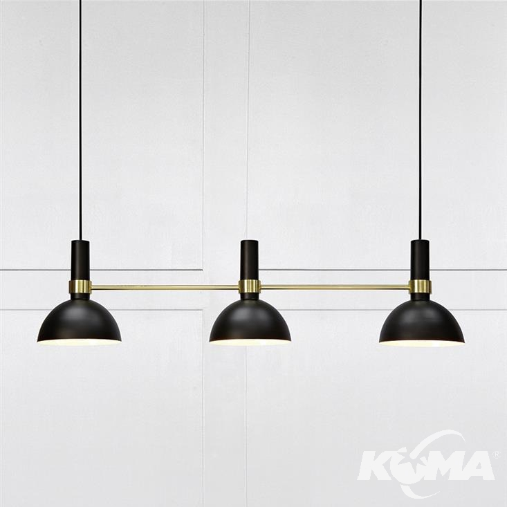 Larry lampa wisząca 3x60W E27 230V czarna + elementy złote