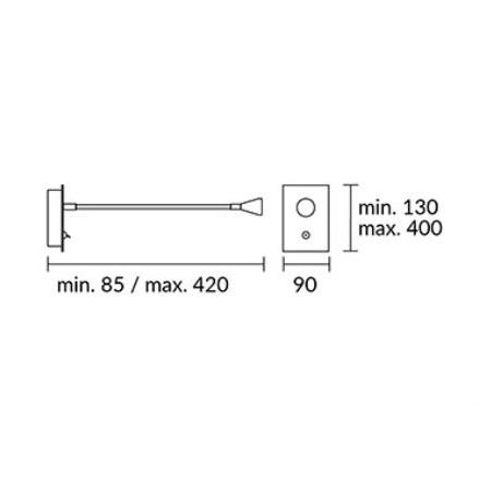 Book kinkiet 1W LED 3000K 230V chrom