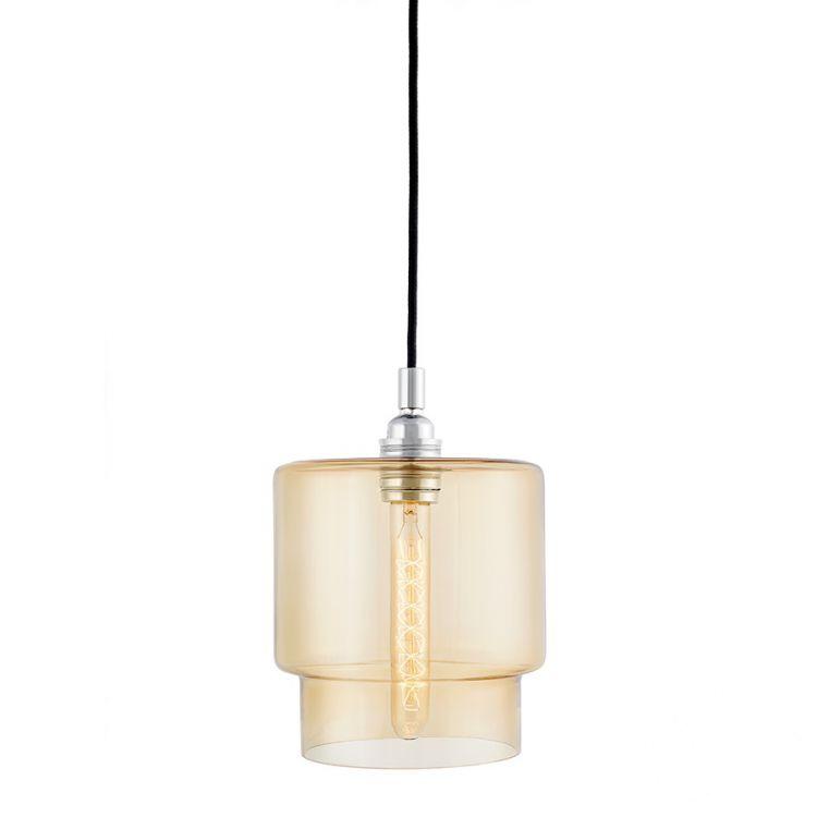 Clea lampa wisząca 1x60W E27 230V chrom + miodowy klosz