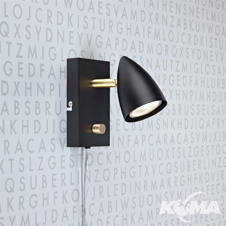 Ciro kinkiet reflektor 1x35W GU10 230V czarny + złoty szczotkowany