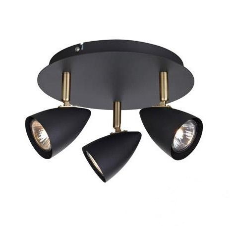 Ciro lampa sufitowa reflektor 3x35W GU10 230V czarny + złoty szczotkowany