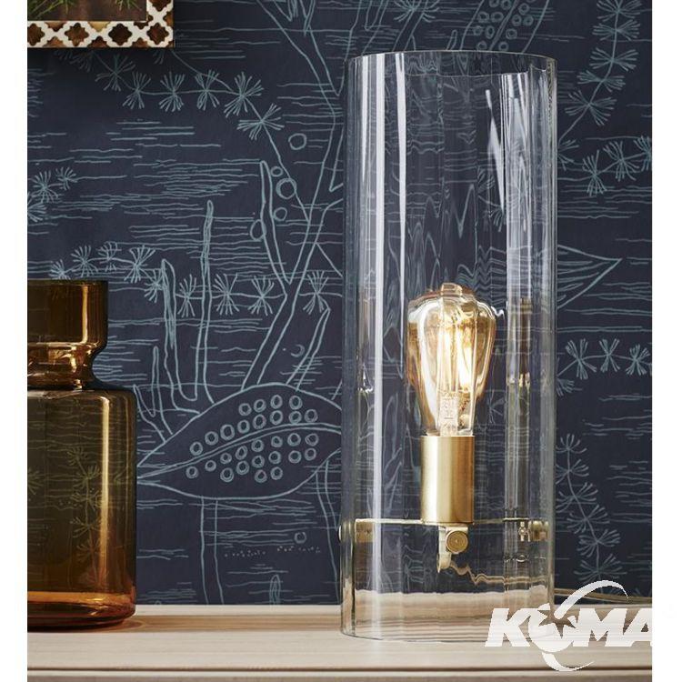 Classy lampa stołowa 1x60W E27 230V mosiądz/transparentne szkło