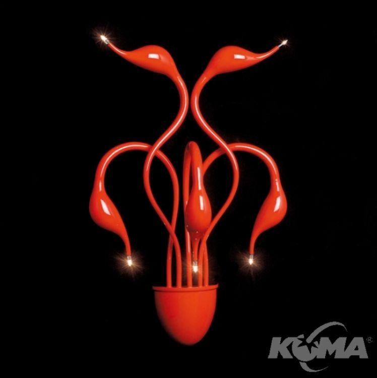 Swan kinkiet 5xg4 20W czerwony