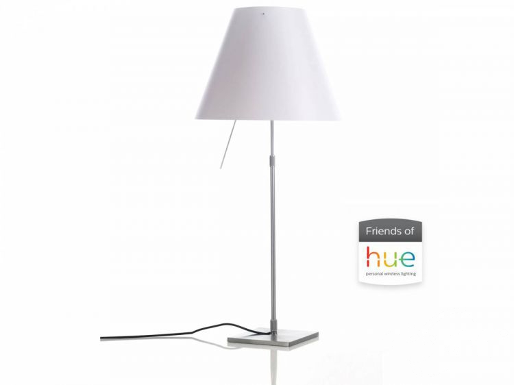 friends hue lampa biurkowa z abażurem  kolor aluminium.  Costanza LUCE PLAN