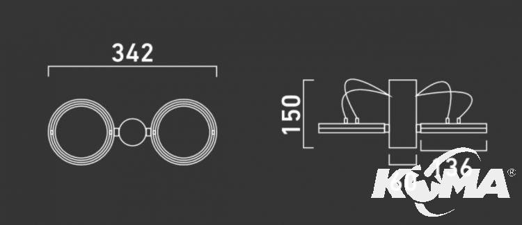 Optique A21 reflektor G53 2x50W C01 - aluminium