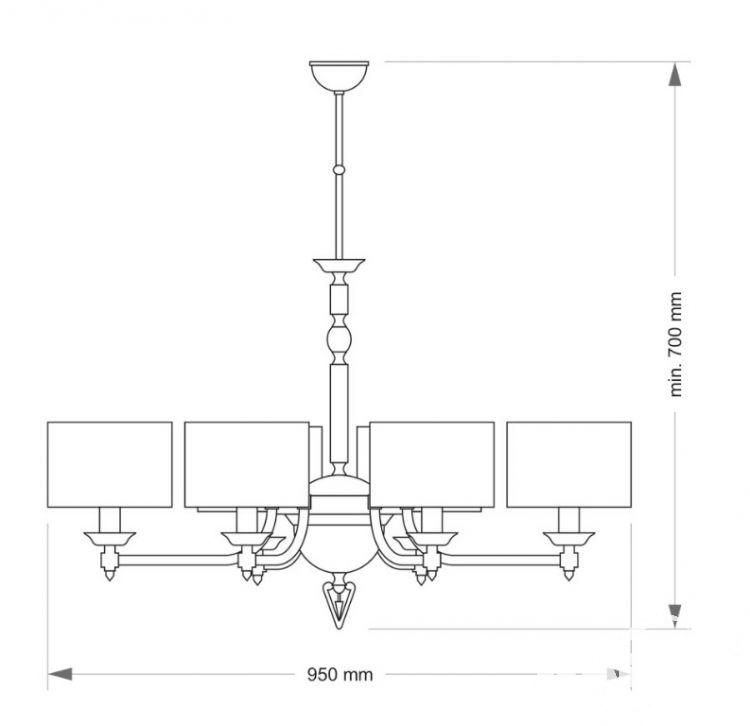 Fagiano oprawa wisząca 6xe14/40w nikiel/beżowe abażury