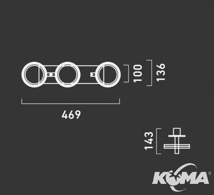 Optique D31+ oprawa stropowa G53 3x50W C01 - aluminium 230V