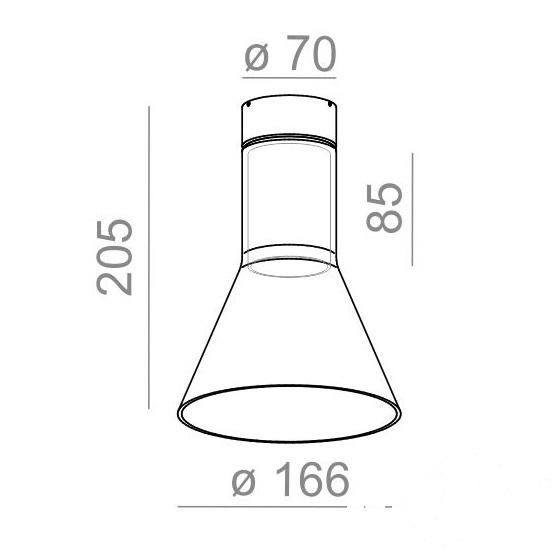 Modern Glass Flared TR lampa sufitowa 1x60W E27 230V aluminium (mat)
