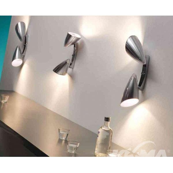Boomerang kinkiet 2x60W E27 230V srebrny + chromowane elementy