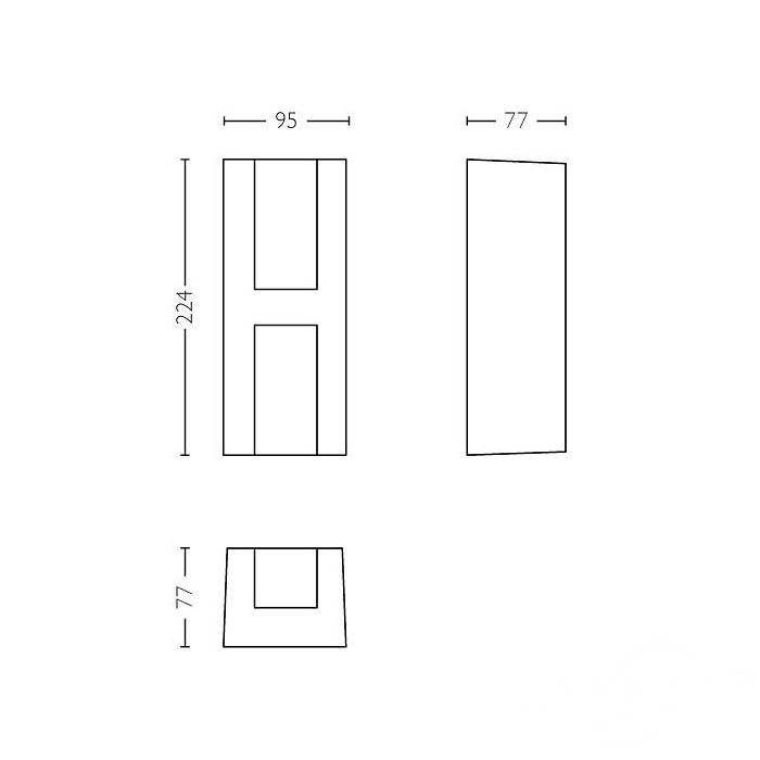 Shadow kinkiet zewnętrzny 2x4,5W LED 230V antracyt