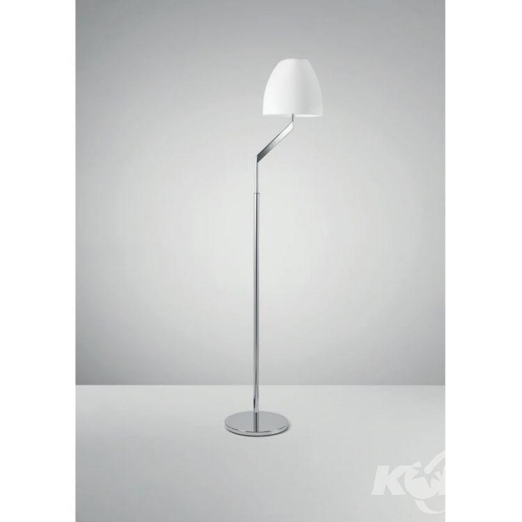 Flavia lampa podłogowa 1x18W E27 230V chrom-matowy opal