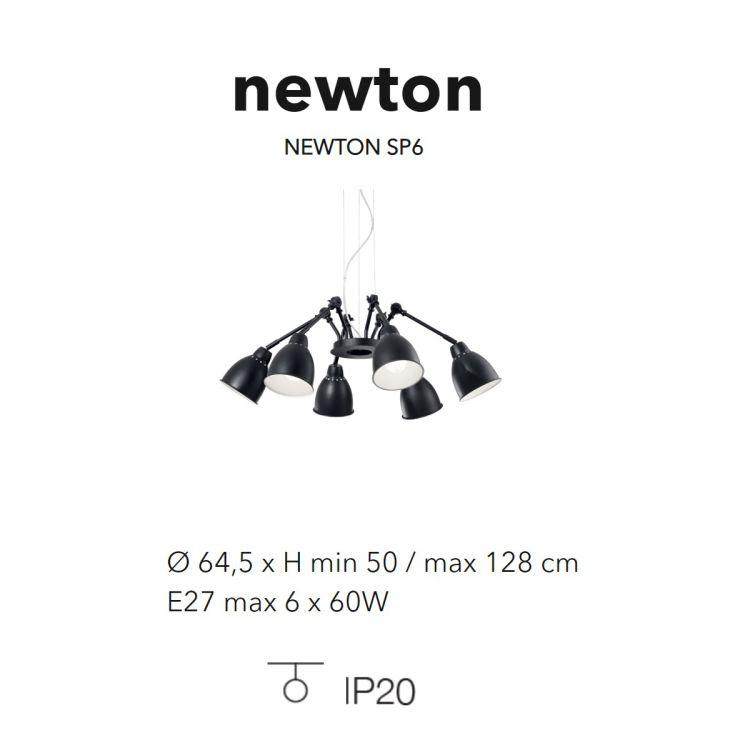 sp6 lampa wisząca czarna Newton IDEAL LUX