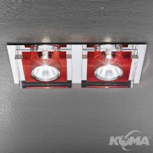 Glaso oprawa wpuszczana 2x50W GU5,3 12V chrom/czerwony
