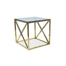 Elise b ława szklana 55x55x55 złote elementy