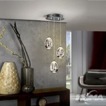 Rocio lampa wisząca 15W LED 3000K 230V transparentna + elementy chromu