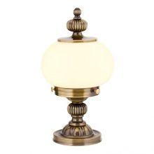 Nostalgia lampa stołowa 1x60W E27 230V mosiądz / klosz opal