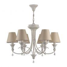 Torino lampa wisząca żyrandol 6x40W E14 230V antyczna biel/beżowy abażur