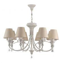 Torino lampa wisząca żyrandol 8x40W E14 230V antyczna biel/beżowy abażur