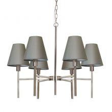 Lucerne lampa wisząca 6x25W E14 230V szczotkowany nikiel/szary abażur