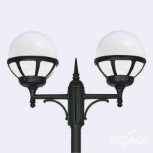 Bologna lampa stojąca zewnętrzna czarna/klosz biały E27 2x46W / led 9w