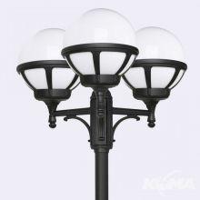 Bologna lampa stojąca zewnętrzna czarna/klosz biały E27 3x46W / led 9w