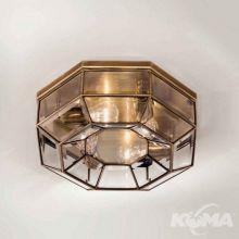 Brunito plafon średni mosiądz polerowany oksydowany śr.42cm 4x30W E27 fazowane szkło