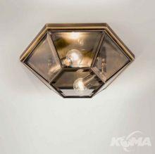 Brunito plafon średni mosiądz polerowany oksydowany śr.43cm 2x46W E27 fazowane szkło