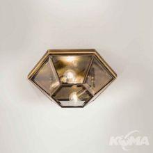 Brunito plafon średni mosiądz polerowany oksydowany śr.32cm 2x46W E27 fazowane szkło