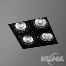 Squares lampa wpuszczana 4x10W GU10 230V czarna (mat)