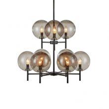 Crown lampa wisząca 9x20W E14 czarna/przydymiony