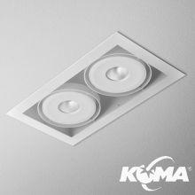 Squares_111x2_QRLED oprawa wpuszczana 16W LED 230V 2700K 38° biała struktura