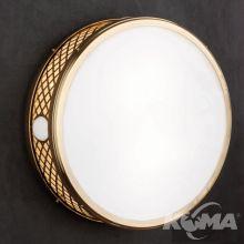 Alt_Wiena plafoniera sufitowa fi40cm 2x40W E14 mosiądz polerowany / szkło opalowe połysk
